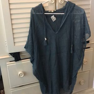 TEAL MESH BEACH COVER UP WITH HOODIE **NEVER WORN*